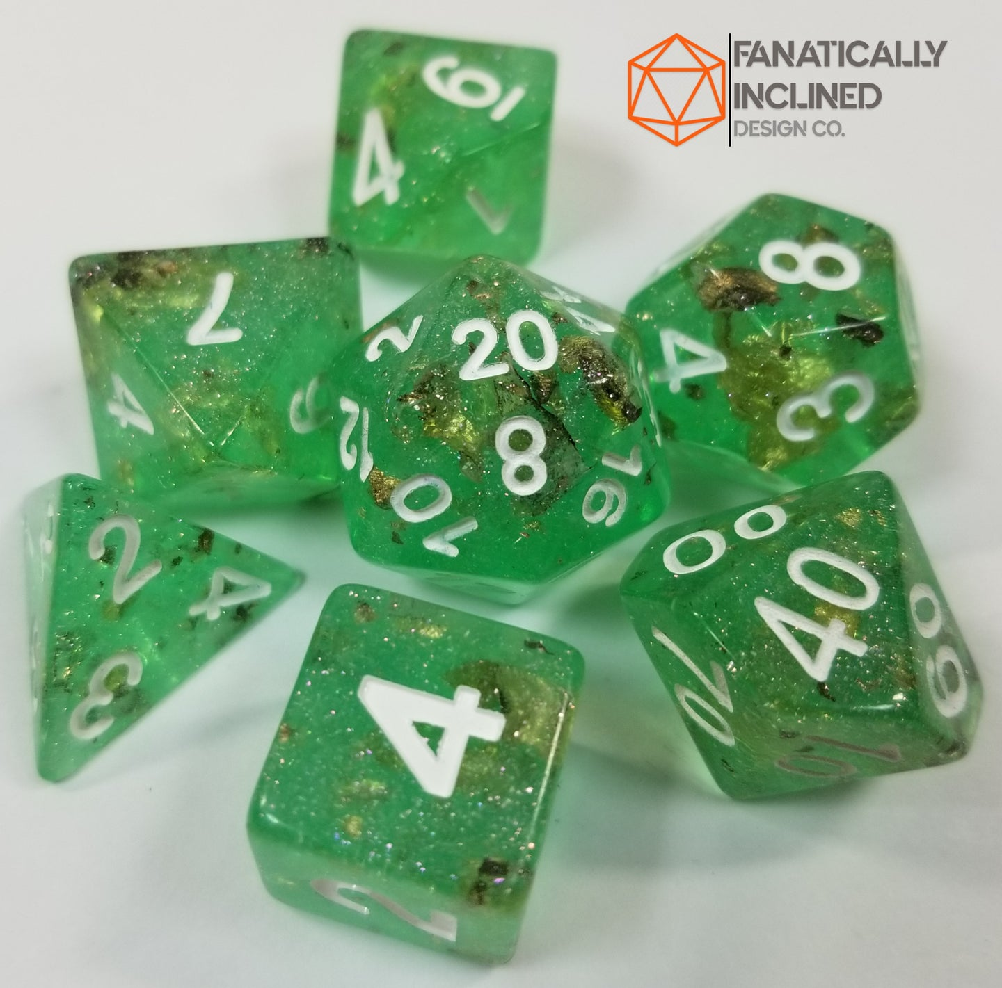Green with Gold Foil Resin Glitter 7pc Dice Set
