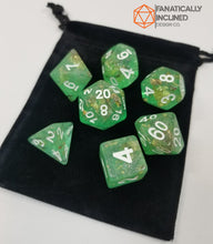Load image into Gallery viewer, Green with Gold Foil Resin Glitter 7pc Dice Set