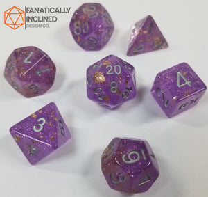 Purple with Gold Foil Resin Glitter 7pc Dice Set