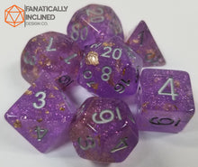 Load image into Gallery viewer, Purple with Gold Foil Resin Glitter 7pc Dice Set
