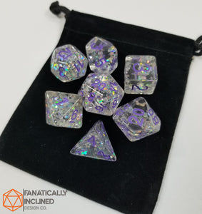 Purple Flower Filled Resin 7pc Dice Set
