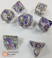 Load image into Gallery viewer, Purple Flower Filled Resin 7pc Dice Set