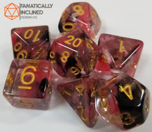 Load image into Gallery viewer, Black Red Swirl Resin 7pc Dice Set