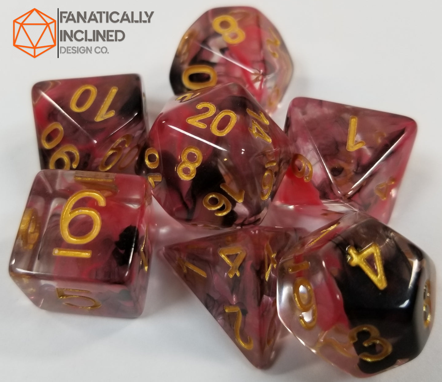 Black Red Swirl Resin 7pc Dice Set