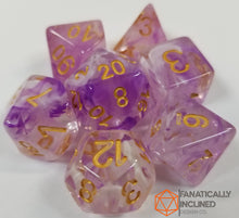 Load image into Gallery viewer, Purple White Swirl Resin 7pc Dice Set
