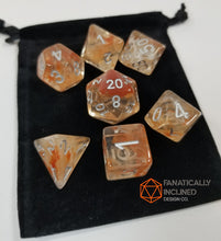 Load image into Gallery viewer, Brown Caramel White Swirl Resin 7pc Dice Set