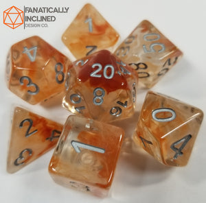 Brown Caramel White Swirl Resin 7pc Dice Set