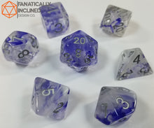 Load image into Gallery viewer, Blue White Swirl Resin 7pc Dice Set