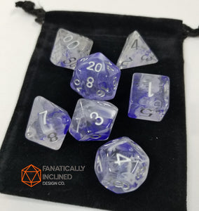 Blue White Swirl Resin 7pc Dice Set