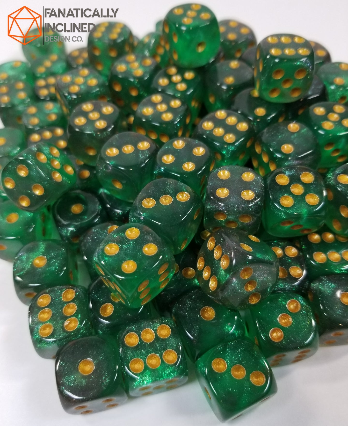 Green Black Pip D6 Damage Dice