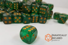 Load image into Gallery viewer, Green Black Pip D6 Damage Dice