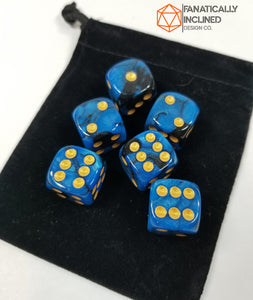 Blue Black Swirl Pip D6 Damage Dice