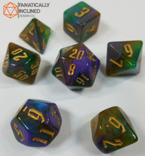 Laden Sie das Bild in den Galerie-Viewer, Tri Color Green Purple Brown Gold 7pc Dice Set