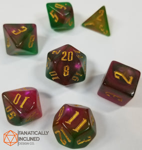 Tri Color Green Purple Red Yellow Gold 7pc Dice Set