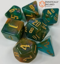 Carica l'immagine nel visualizzatore di Gallery, Tri Color Green Blue Yellow Gold 7pc Dice Set