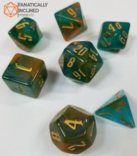 Load image into Gallery viewer, Tri Color Green Blue Yellow Gold 7pc Dice Set