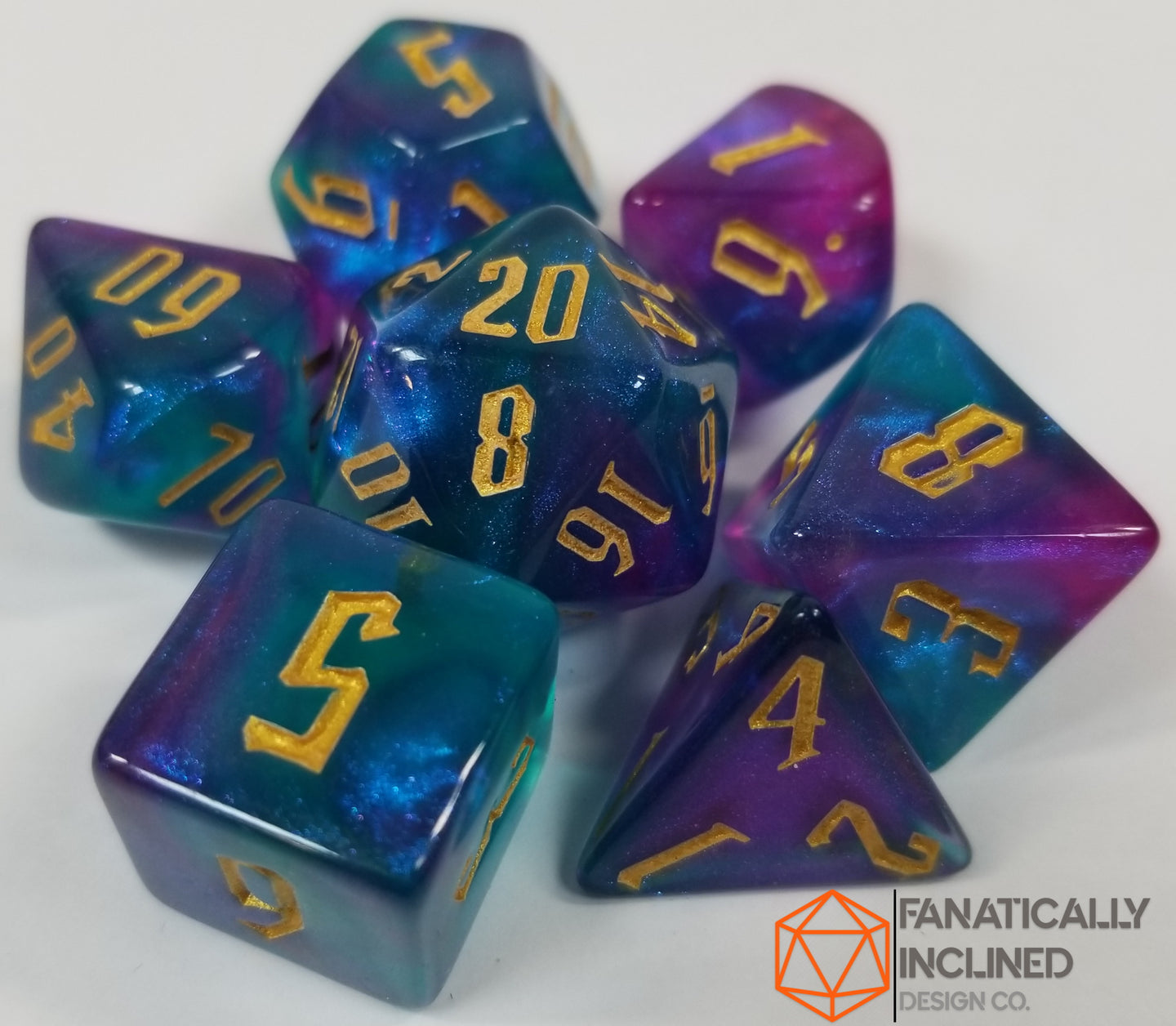 Tri Color Blue Purple Indigo Gold 7pc Dice Set