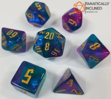 Load image into Gallery viewer, Tri Color Blue Purple Indigo Gold 7pc Dice Set