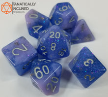 Load image into Gallery viewer, Indigo Pink Seabed Treasures Resin 7pc Dice Set