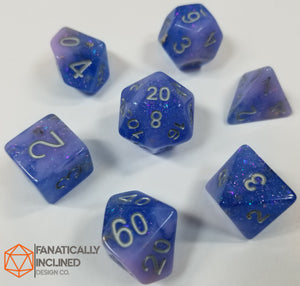 Indigo Pink Seabed Treasures Resin 7pc Dice Set