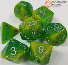 Load image into Gallery viewer, Green Yellow Seabed Treasures Resin 7pc Dice Set