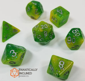 Green Yellow Seabed Treasures Resin 7pc Dice Set
