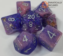 Load image into Gallery viewer, Purple Pink Seabed Treasures Resin 7pc Dice Set