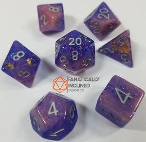Purple Pink Seabed Treasures Resin 7pc Dice Set