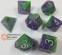 Load image into Gallery viewer, Purple Green Joker Seabed Treasures Resin 7pc Dice Set