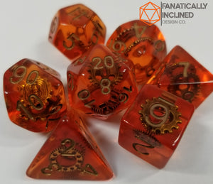 Orange Gears Steampunk Resin 7pc Dice Set