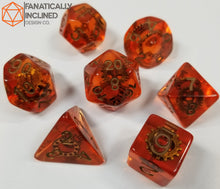 Load image into Gallery viewer, Orange Gears Steampunk Resin 7pc Dice Set