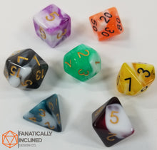 Load image into Gallery viewer, Ambrosia Fruit Salad - Green Blue Red Black Green Yellow Orange 7pc Dice Set
