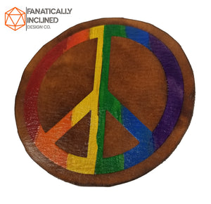 Rainbow Peace Leather Handmade Coasters
