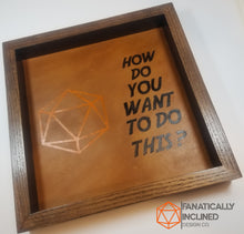 "Load image into Gallery viewer, Custom 11"" by 11"" Large Handmade Wood Oak Leather Dice Tray"