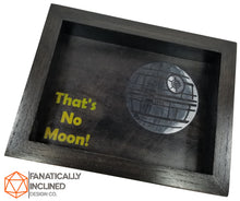 Load image into Gallery viewer, That's No Moon! Handmade Oak Wood and Leather Dice Tray