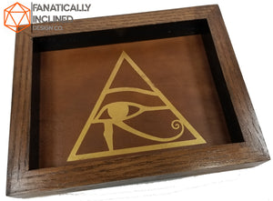 Eye of Horus Handmade Oak Wood and Leather Dice Tray