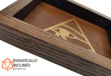 Laden Sie das Bild in den Galerie-Viewer, Eye of Horus Handmade Oak Wood and Leather Dice Tray