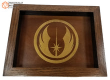 Load image into Gallery viewer, Jedi Academy Handmade Oak Wood and Leather Dice Tray