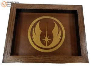 Jedi Academy Handmade Oak Wood and Leather Dice Tray
