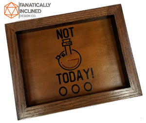 Not Today! Handmade Oak Wood and Leather Dice Tray