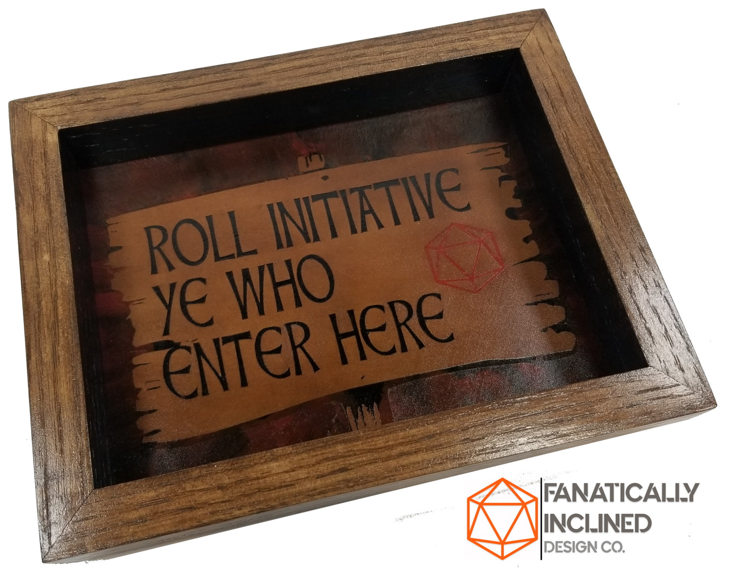 Roll Initiative Ye Who Enter Here Handmade Oak Wood and Leather Dice Tray