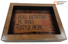 Laden Sie das Bild in den Galerie-Viewer, Roll Initiative Ye Who Enter Here Handmade Oak Wood and Leather Dice Tray