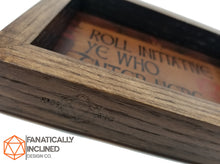 Load image into Gallery viewer, Roll Initiative Ye Who Enter Here Handmade Oak Wood and Leather Dice Tray