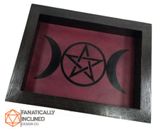 Load image into Gallery viewer, Purple Triple Goddess Handmade Oak Wood and Leather Altar Tray