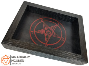 Sigil of Baphomet Handmade Oak and Leather Dice Tray