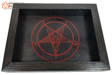Load image into Gallery viewer, Sigil of Baphomet Handmade Oak and Leather Dice Tray
