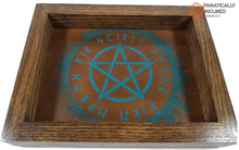 Load image into Gallery viewer, Teal Rune Pentacle Handmade Oak Wood and Leather Altar Tray