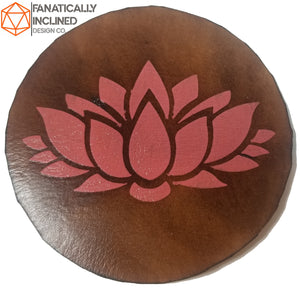 Pink Lotus Leather Handmade Coasters