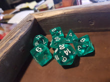 Load image into Gallery viewer, Teal Blue/Green Prismatic Orb 7pc Dice Set