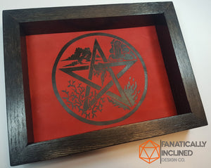 Red Elemental Pentacle Handmade Oak Wood and Leather Altar Tray